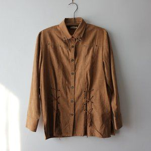 Vintage Suede Button Down Western Blouse
